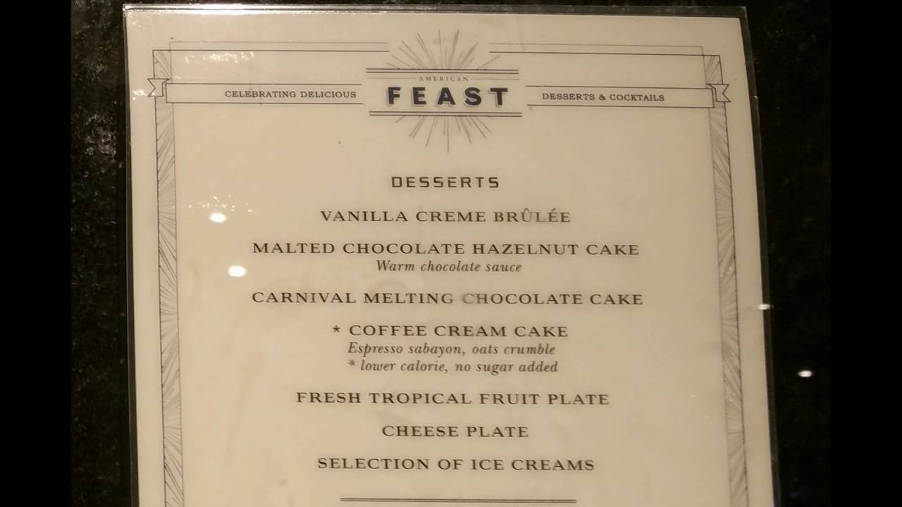 carnival cruise dining menu 2016 american table and feast youtube