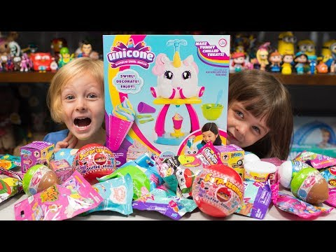 HUGE Unicone Unicorn Poop Surprise Eggs Opening Blind Bags Toys for Girls Kinder Playtime