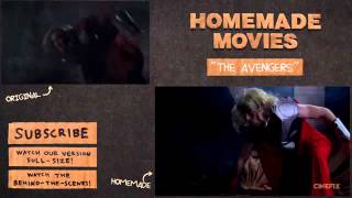 Iron Man, Thor & Captain America Fight from The Avengers   Homemade Side by Side Comparison
