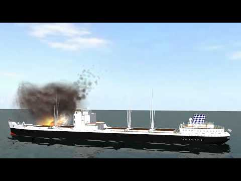 fire and explosion on cargo ship - blue screen effect - \