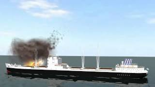 fire and explosion on cargo ship - blue screen effect -