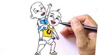 how to draw upin ipin, (cara menggambar upin ipin)