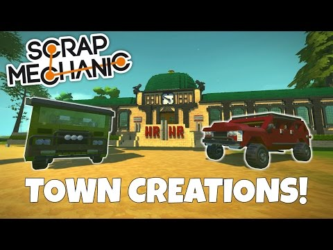 Off-Road Jeep & Old Train Station - Scrap Mechanic Town Creations Gameplay - EP 213