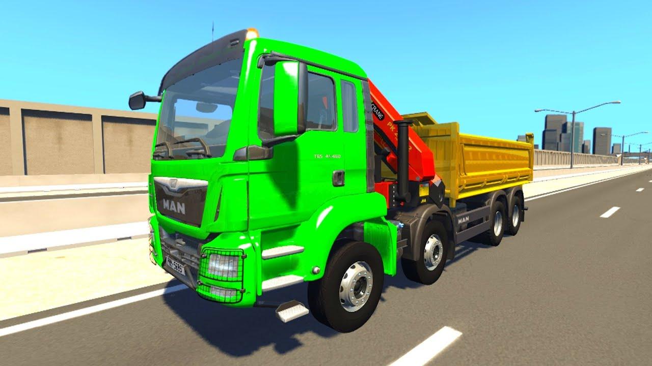 Как тестируют грузовики - Крутые краш тесты машин в Игре BeamNG.Drive