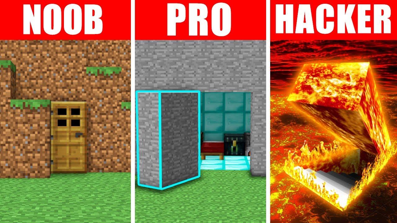Minecraft NOOB vs. PRO vs. HACKER : SECRET BASE ENTRANCE in Minecraft!