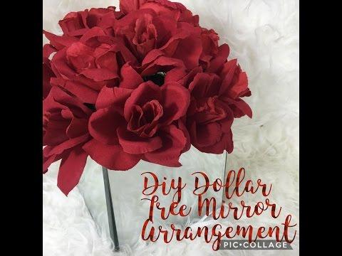 DIY Dollar Tree Mirror Box Floral Arrangement