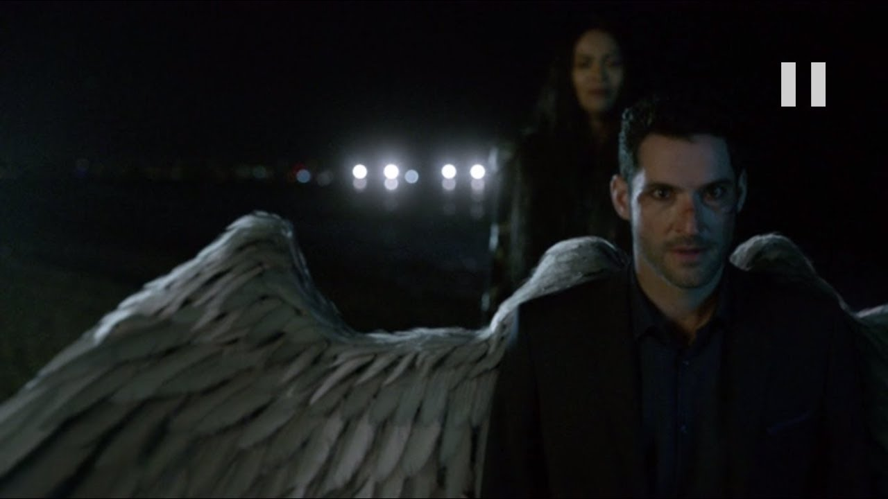 Lucifer stays on earth and cut His wings off - Lucifer S03E11