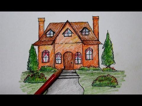 Cara Menggambar Rumah Kartun Youtube
