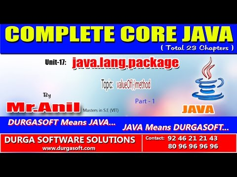 Core Java -java.lang.package- valueOf(-)method - Part - 1 - YouTube