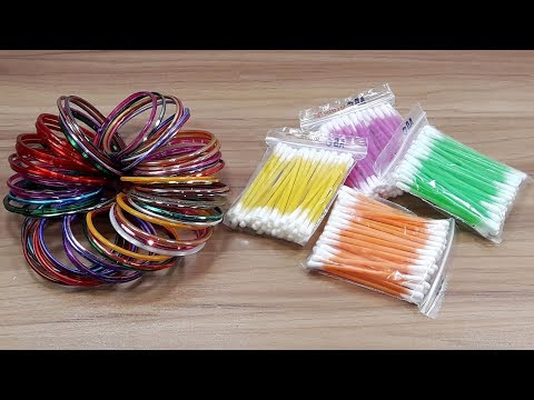 Cotton buds & Old bangles reuse idea   Best craft idea   DIY arts and crafts   DIY cotton buds