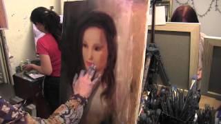 портрет девушки на мастер классе, уроки рисования, Сахаров, масло