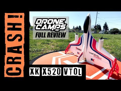 XK X520 - FAIL! WINDY CRASH ! - Brushless VTOL Vertical Takeoff Airplane Review