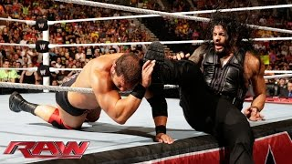 Roman Reigns vs. RybAxel – 2-on-1 Handicap Match: Raw, Aug. 11, 2014
