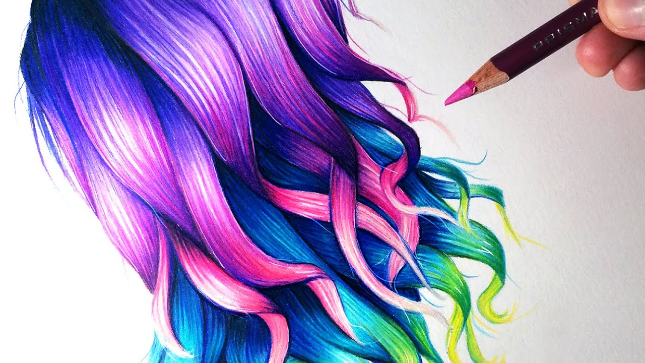 draw rainbow coloured hair