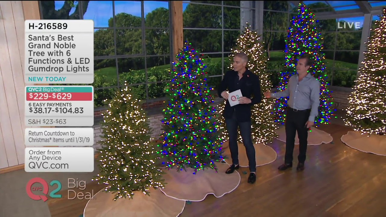 Santas Best Christmas Trees.Santa S Best Grand Noble Tree With 6 Functions Led Gumdrop Lights On Qvc