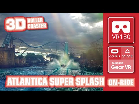 ATLANTICA Super Splash VR180 3D extreme Water Roller Coaster | VR on-ride | Europa Park VR360 Oculus