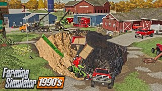 GIANT SINK HOLE SWALLOWS FARM | CAN WE REBUILD? (90s ROLEPLAY) FARMING SIMULATOR 19