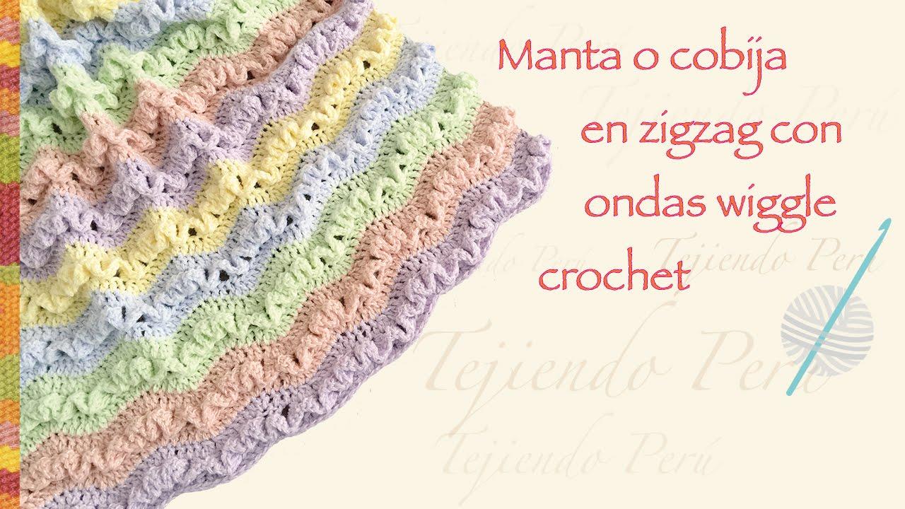 Cobija zig zag con ondas wiggle tejida a crochet en varios tamaños ...