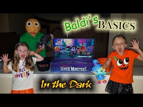 Baldi's Basics in Real Life in the Dark! Netflix Super Monsters Toy Scavenger Hunt at Night!