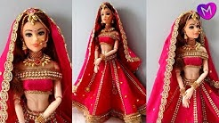 Barbie Lehenga   How to decorate a doll with indian bridal dress and jewellery   Doll lehenga making