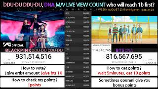 Cover images BTS & BLACKPINK | DNA & DDU-DU DDU-DU | Live View Count + Mini Game | Who will reach 1b first?