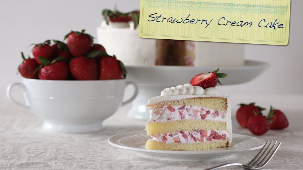 Strawberry Cream Cake | Chiffon Cake, Fresh Strawberries, and Lightly Sweeten Whipped Cream