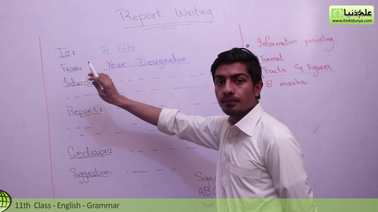 English grammar report writing