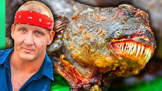 Hunting Asia's Alien Fish Predator!!! CATCH AND COOK AND CRY!!