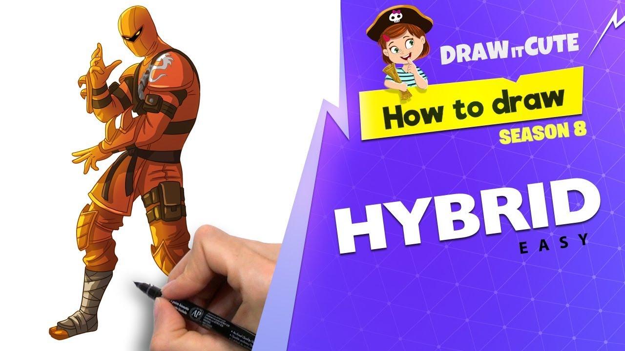 How To Draw Hybrid Easy Fortnite Season 8 Tutorial Youtube