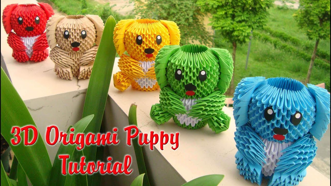 HOW TO MAKE 3D ORIGAMI PUPPY V1 TUTORIAL | DIY PAPER PUPPY TUTORIAL
