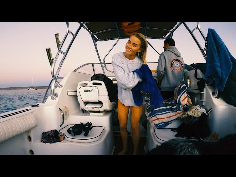 Camping On The Boat Part 1 - Sunset Freediving, Sleeping On The Boat With My Dog And Friends