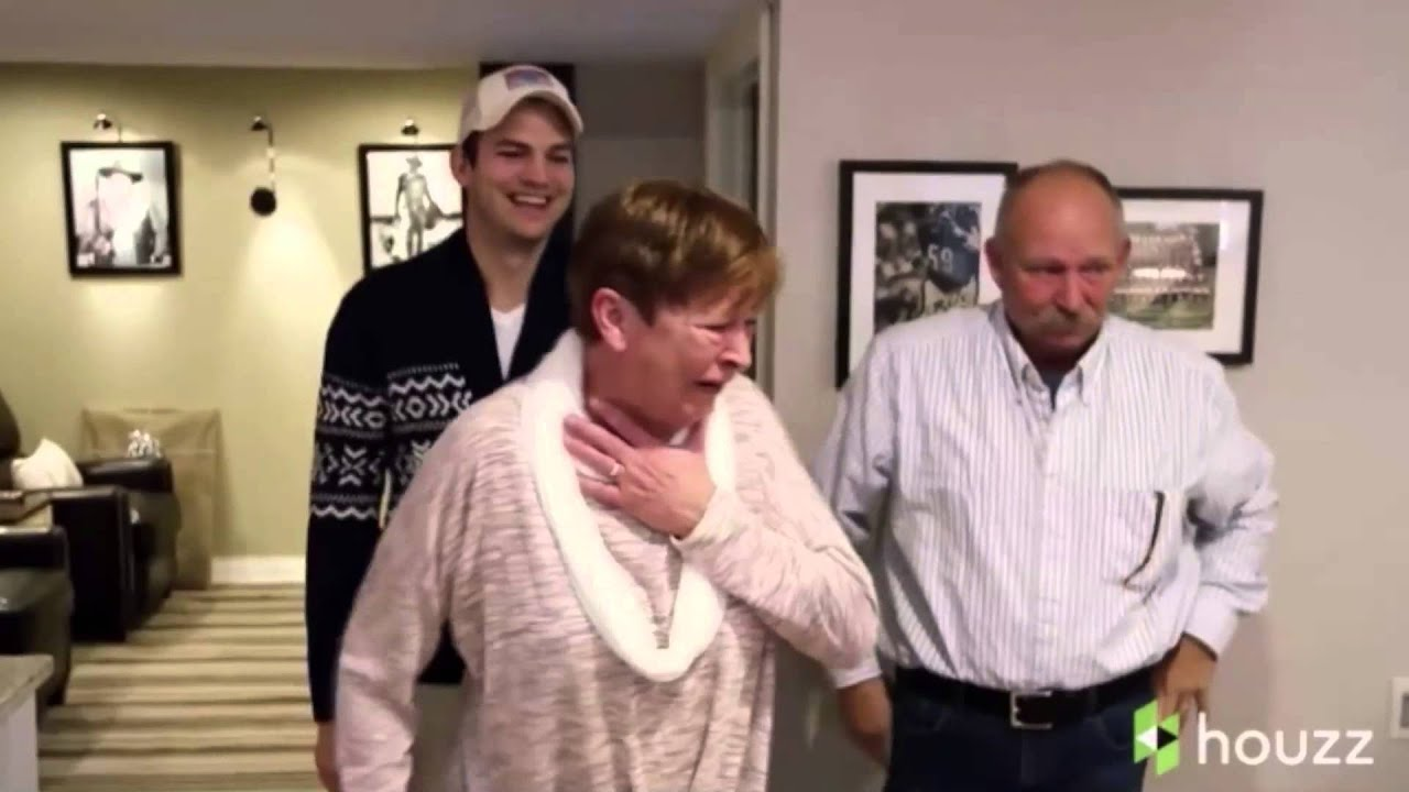 Ashton kutcher surprises his mom with over the top mother 39 s day gift youtube - A dream basement ashton kutchers surprise for his mom ...