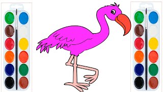 How To Draw A Pink Flamingo - Bird Coloring Pages For Kids