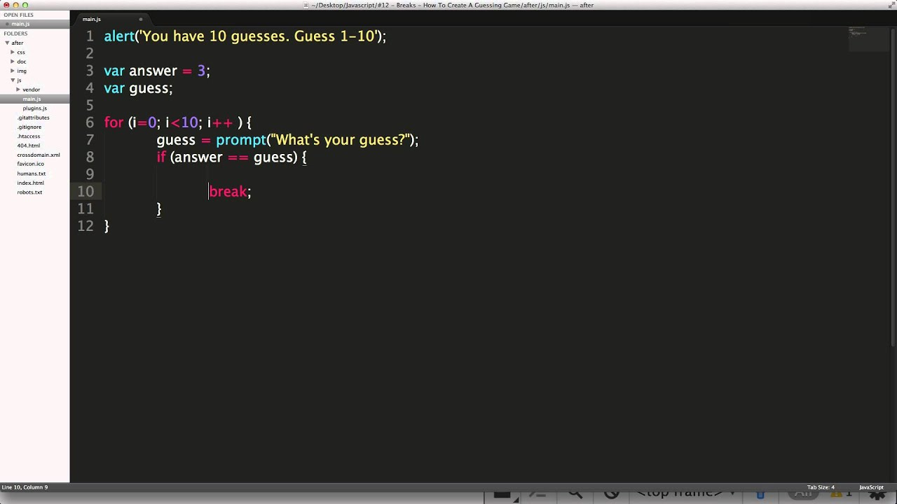 JavaScript Tutorials #12 - Breaks - How To Create A Guessing Game