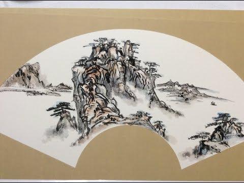 Chinese Ink Wash Painting Tutorial 中国画教学山水篇 山水扇面的经营方法(三)