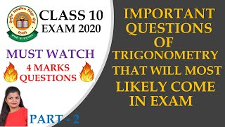 Trigonometry Important Questions | 4 Marks | Class 10 Maths | CBSE