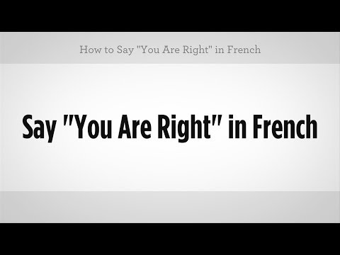 "How to Say ""You Are Right"" in French 