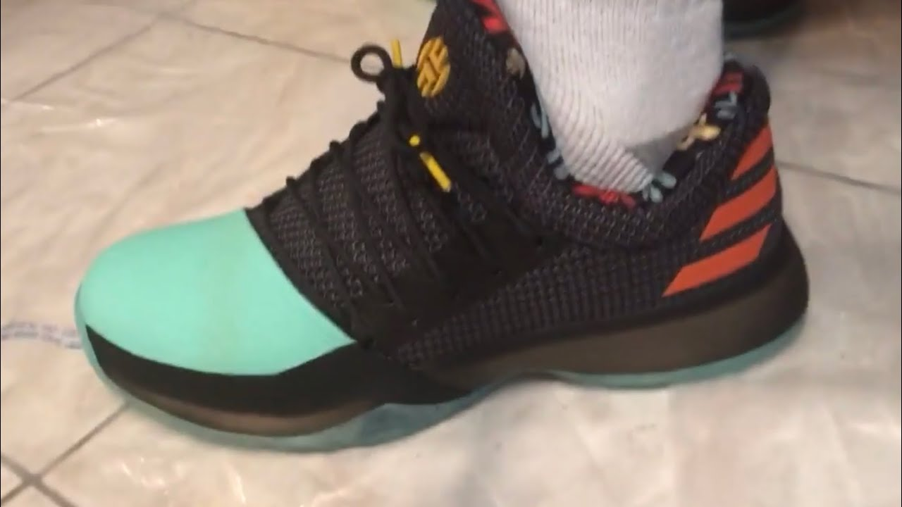 40db608473200 Adidas james Harden vol 1 Cactus(On feet Action) - YouTube