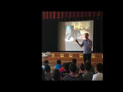 Mr. Schu visits Gardiner Manor School