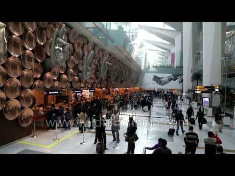 Immigration counter and Arrivals mudras at T3 Indira Gandhi Airport, New Delhi