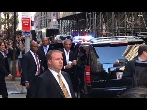 We just spotted Barack Obama in NYC and he got huge cheers