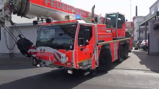 Bauunfall-Zug Feuerwehr Düsseldorf + NEF (mit Reserve-RW) + Durchsage