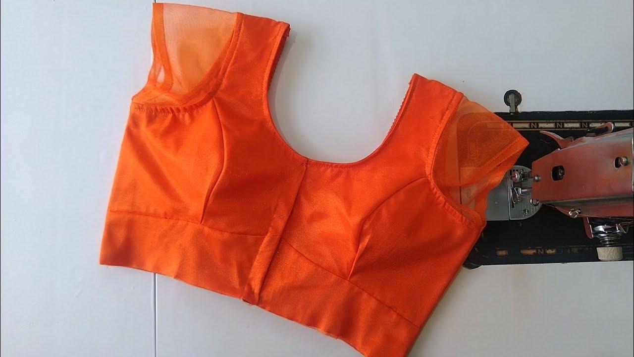 "36""size3 peice princess cut net model blouse design cutting and stitching front part/Blouse designs."