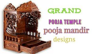 Grand latest pooja temple designs for home,pooja mandir designs