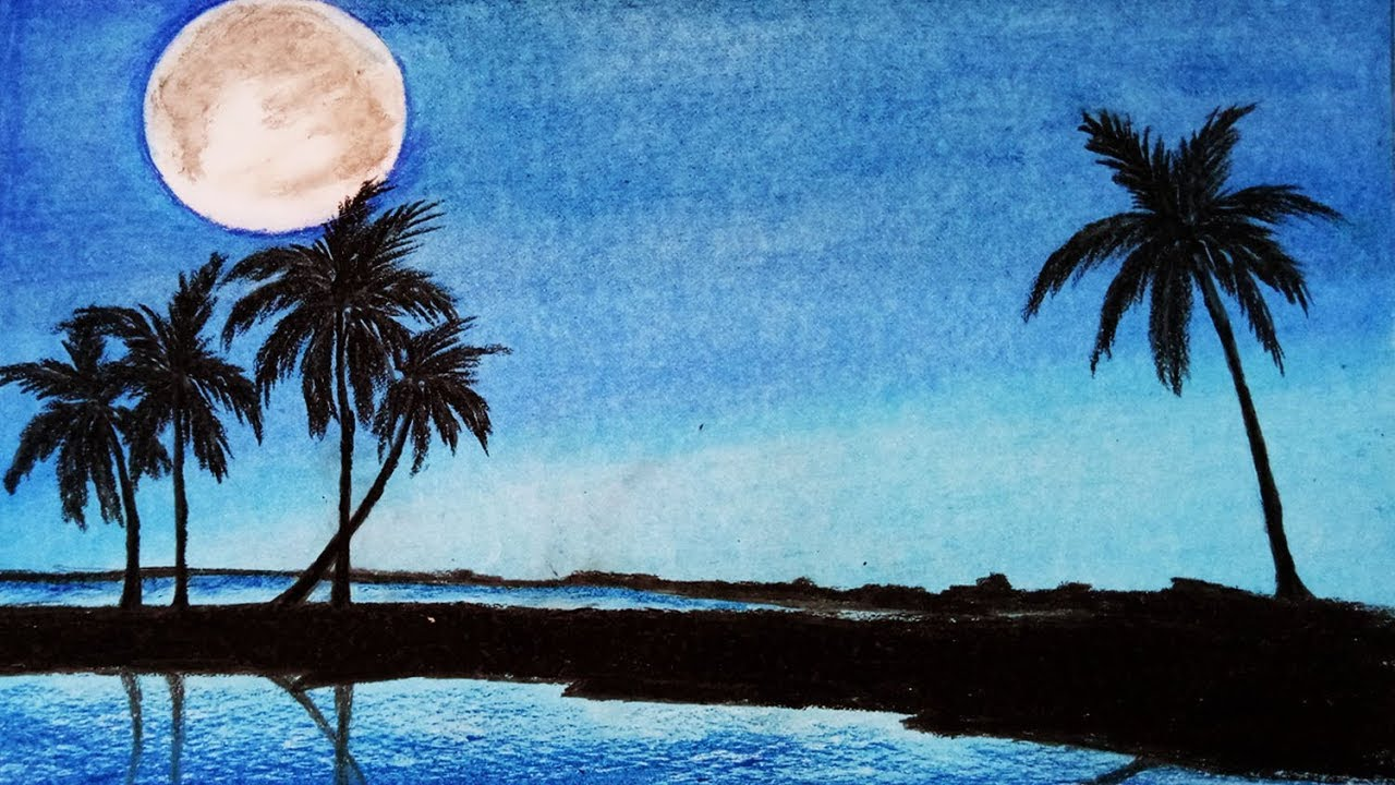 How To Draw Scenery Of Moonlight With Oil Pastel Step By Step Easy
