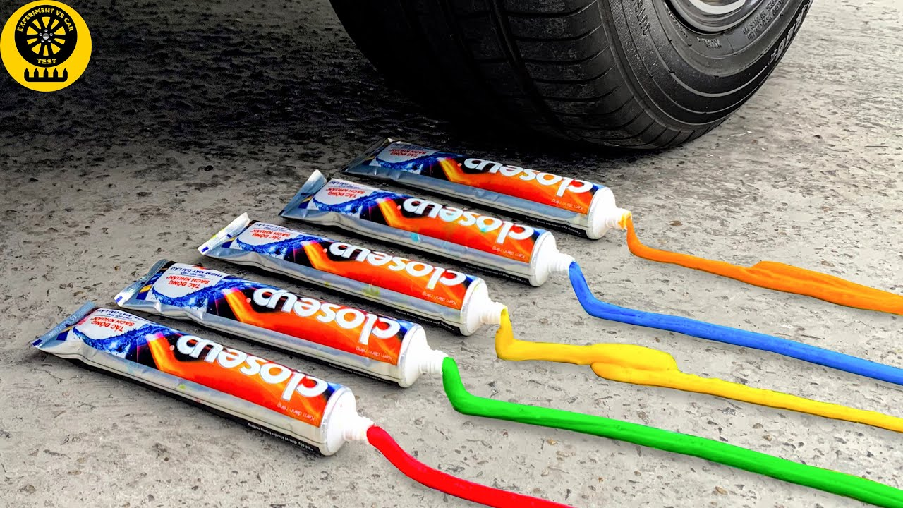 Crushing Crunchy & Soft Things by Car! Experiment Car vs Toothpaste