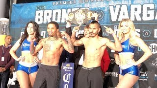 GERVONTA 'TANK' DAVIS v JESUS CUELLAR - OFFICIAL WEIGH IN & HEAD TO HEAD / BRONER v VARGAS