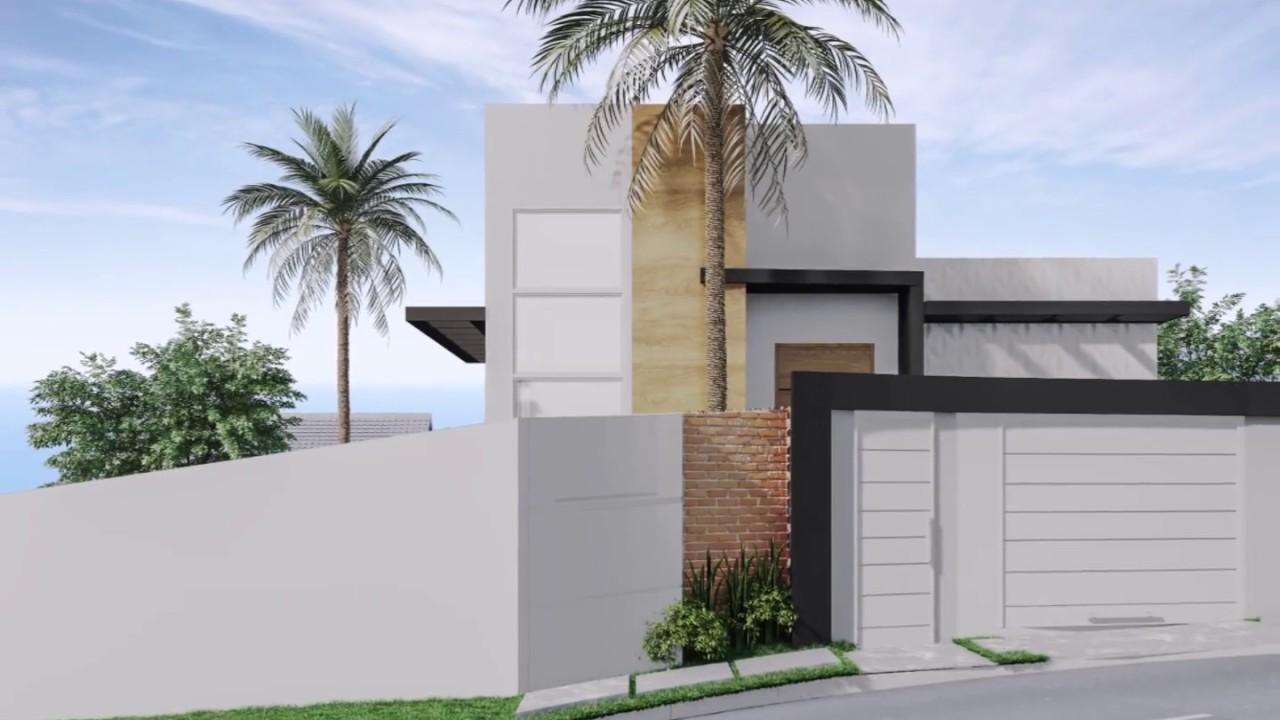 Projeto casa sobrado fachada moderna reta garagem subsolo for Casa moderna 2 andares 3 quartos