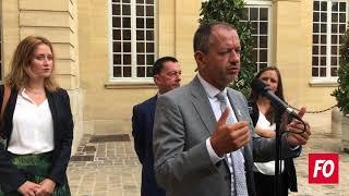 Rentrée sociale 2018 : Pascal Pavageau (FO)  à la sortie de Matignon