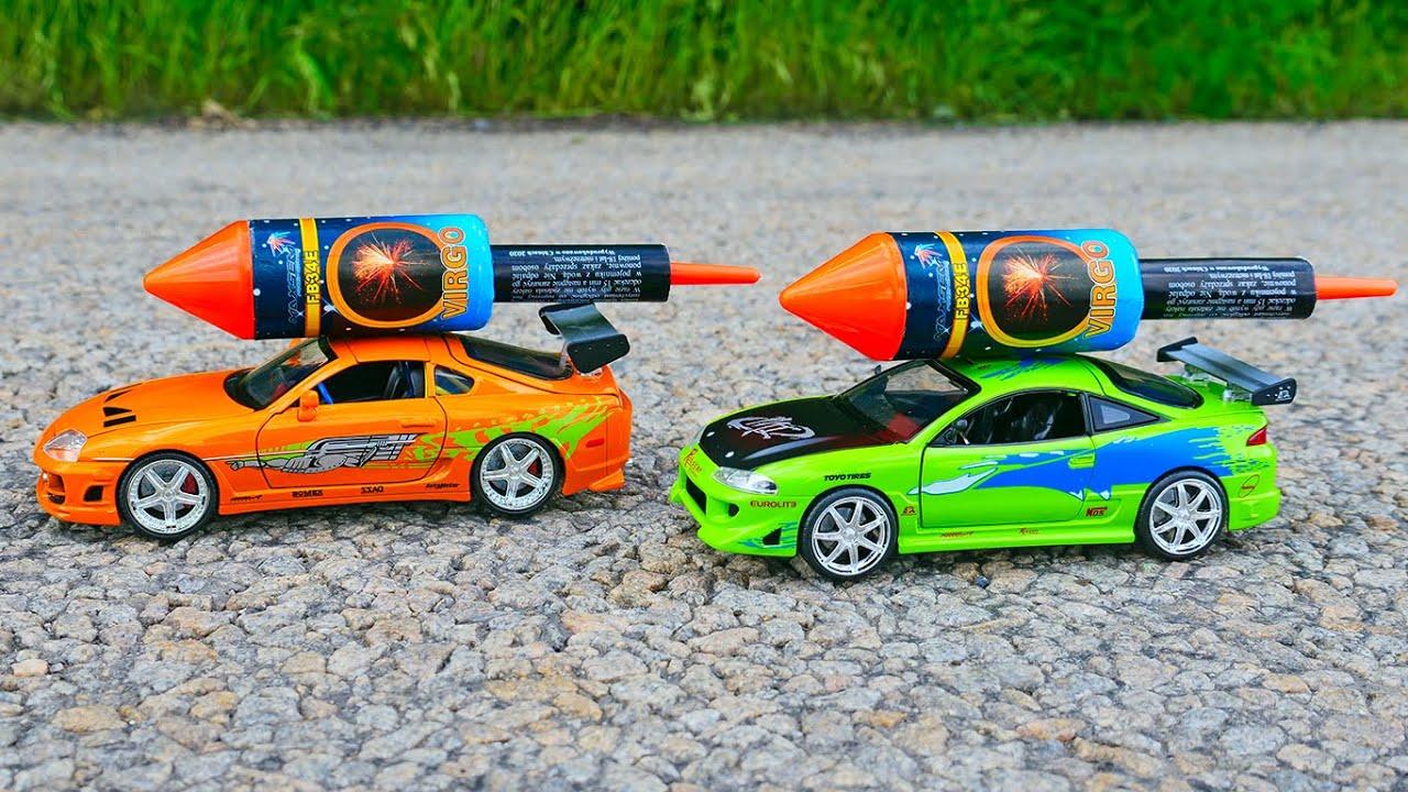 Experiment: XXL ROCKET with Toy Toyota Supra vs Mitsubishi Eclipse